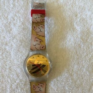 Swatch Watch with whimsical pink band